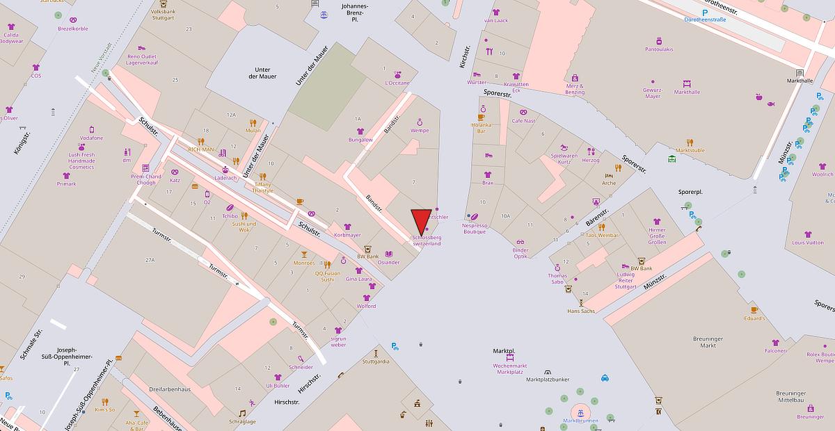 Karte vom Standort des Expertenzentrum in Stuttgart am Marktplatz.